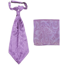 New men's polyester ASCOT cravat neck tie & hankie set Paisley prom  Lav... - $16.00