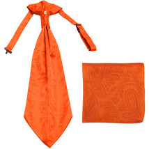 New men's polyester ASCOT cravat neck tie & hankie set Paisley prom  Orange - $16.00