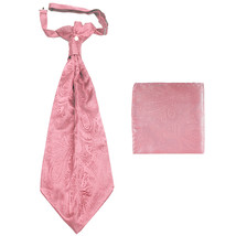 New men's polyester ASCOT cravat neck tie & hankie set Paisley prom  Pink - $16.00