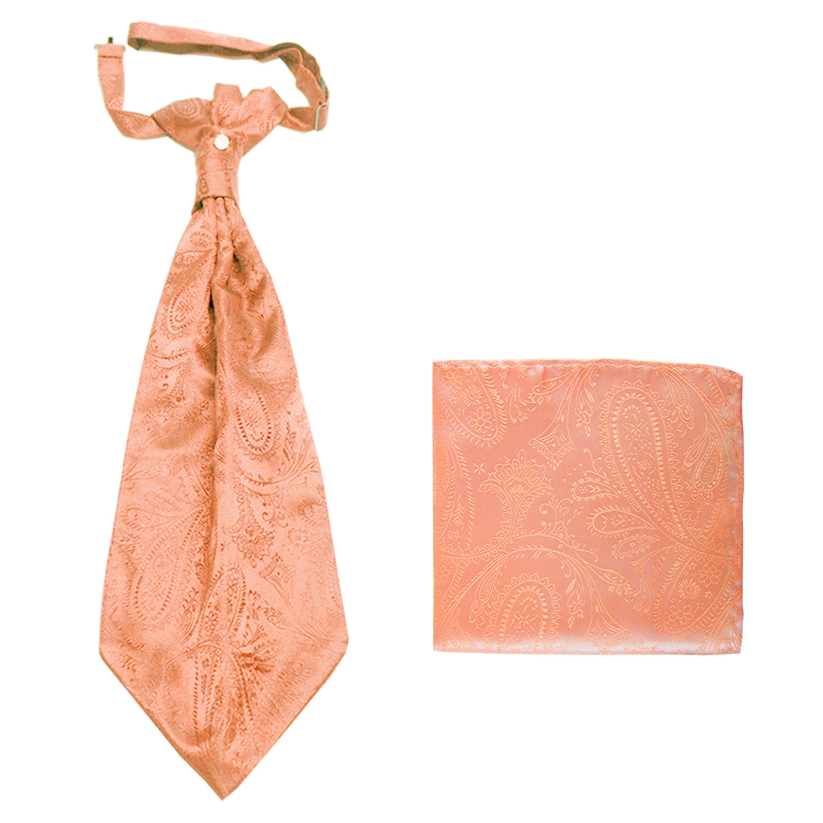 New men's polyester ASCOT cravat neck tie & hankie set Paisley prom  Peach