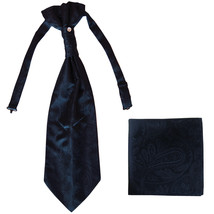 New men's polyester ASCOT cravat neck tie & hankie set Paisley prom  Navy - $16.00
