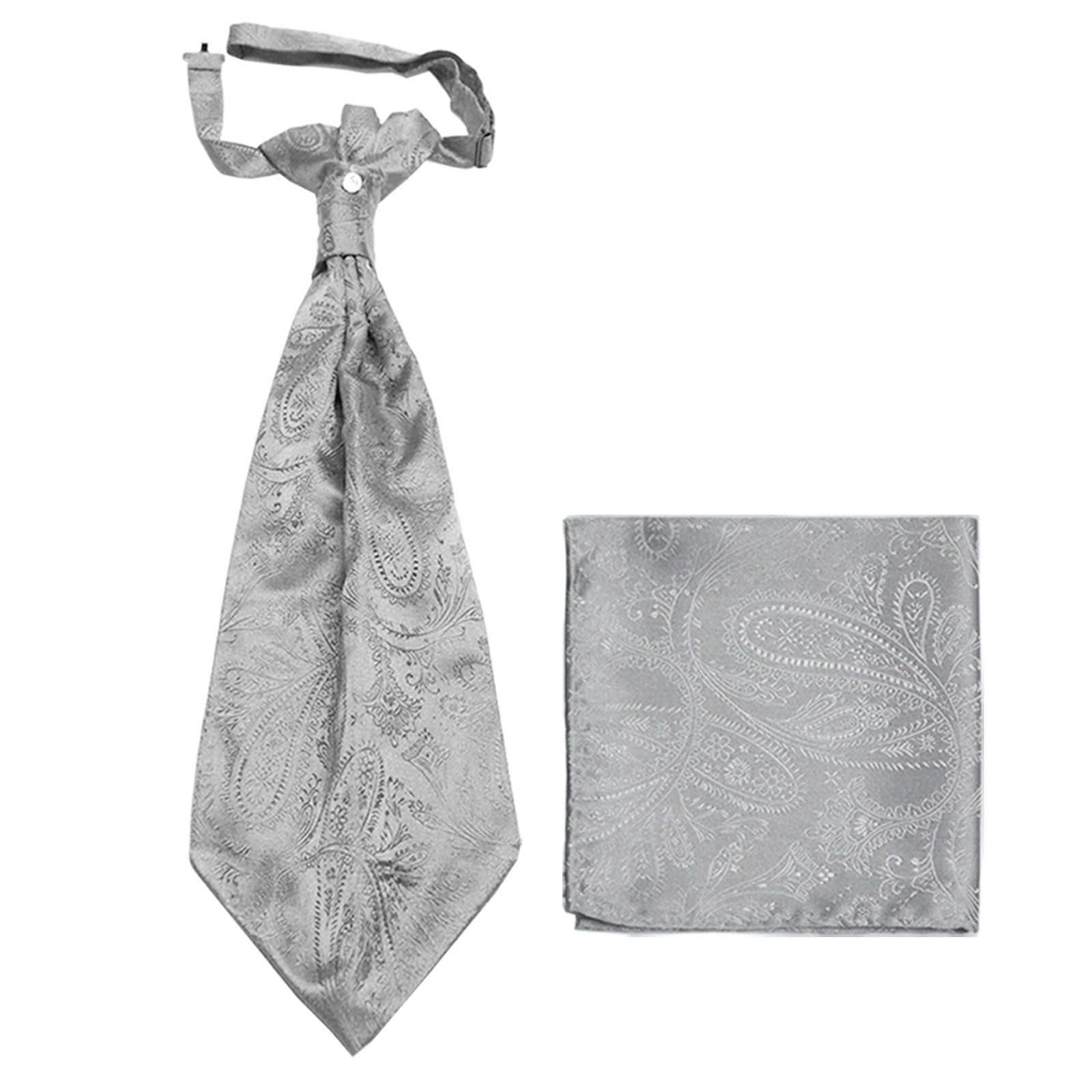 New men's polyester ASCOT cravat neck tie & hankie set Paisley prom  Silver