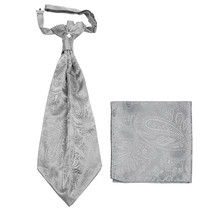 New men's polyester ASCOT cravat neck tie & hankie set Paisley prom  Silver - $16.00