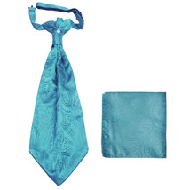 New men's polyester ASCOT cravat neck tie & hankie set Paisley prom  Tur... - $16.00