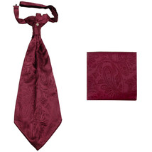 New men's polyester ASCOT cravat neck tie & hankie set Paisley prom  Bur... - $16.00