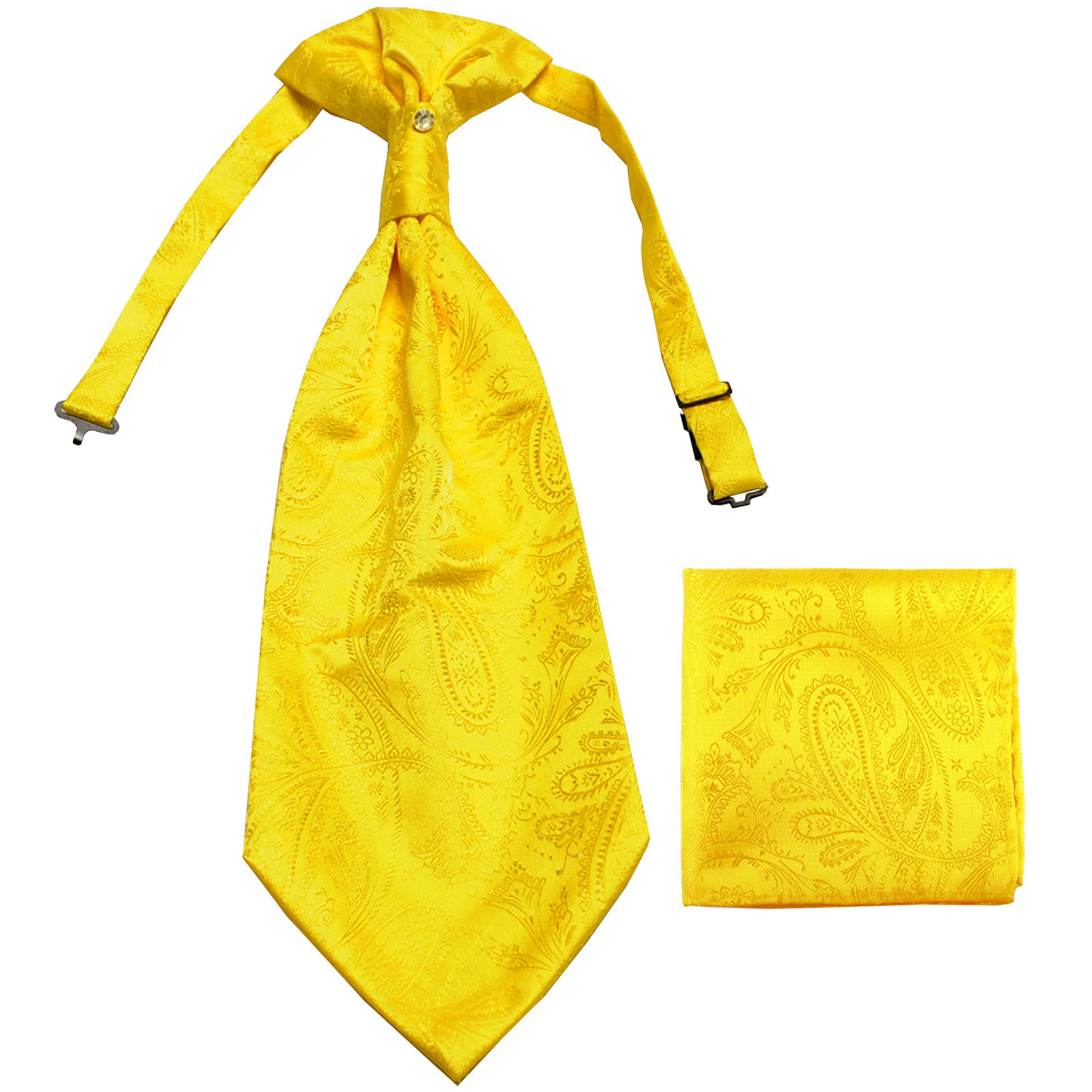 New men's polyester ASCOT cravat neck tie & hankie set Paisley prom  Yellow