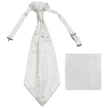 New men's polyester ASCOT cravat neck tie & hankie set Paisley prom  White - $16.00