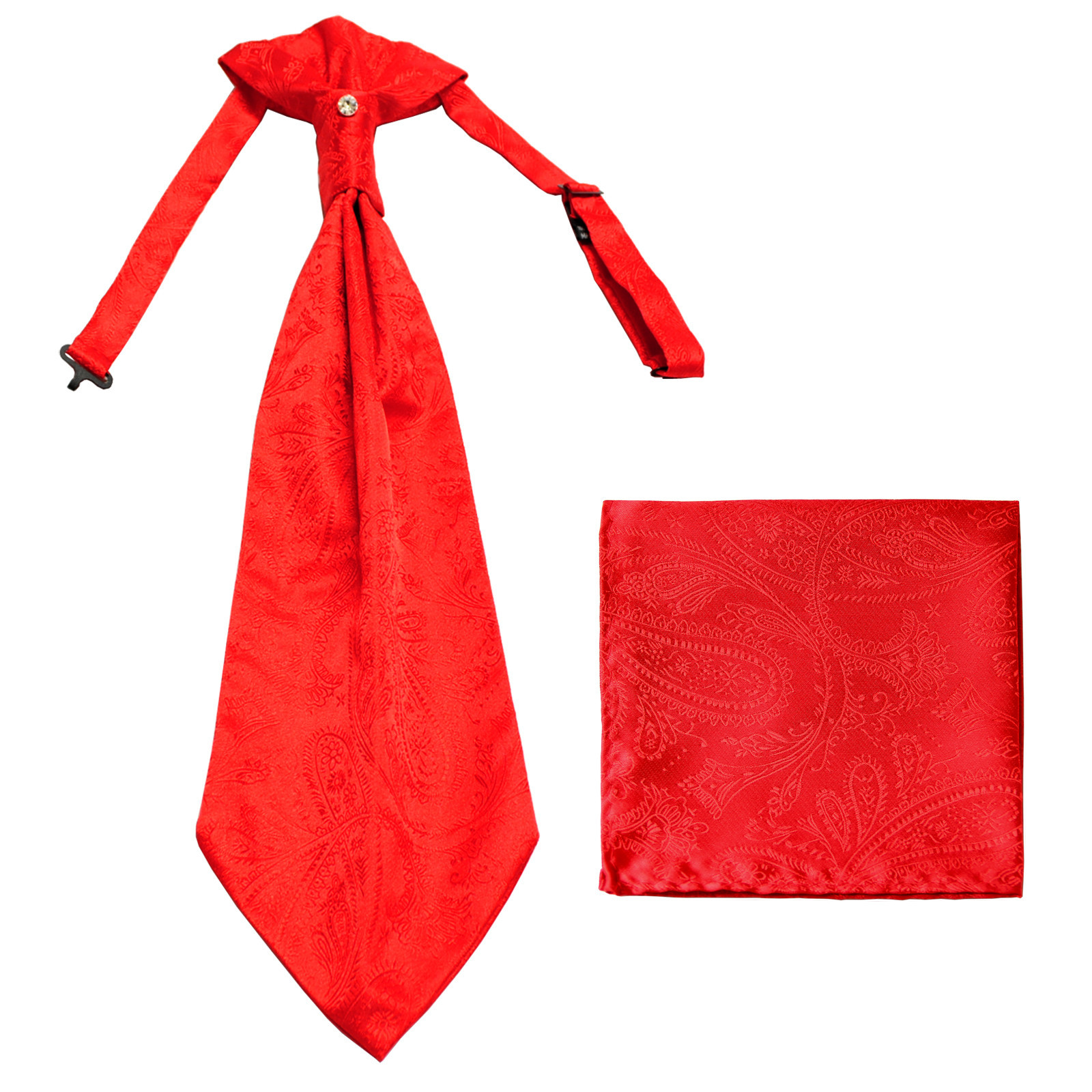 New men's polyester ASCOT cravat neck tie & hankie set Paisley prom  Red