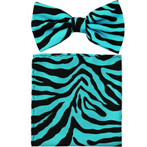 New Men's Pre-tied Bow Tie & Pocket Square Hankie set zebra  Turquoise - $9.50