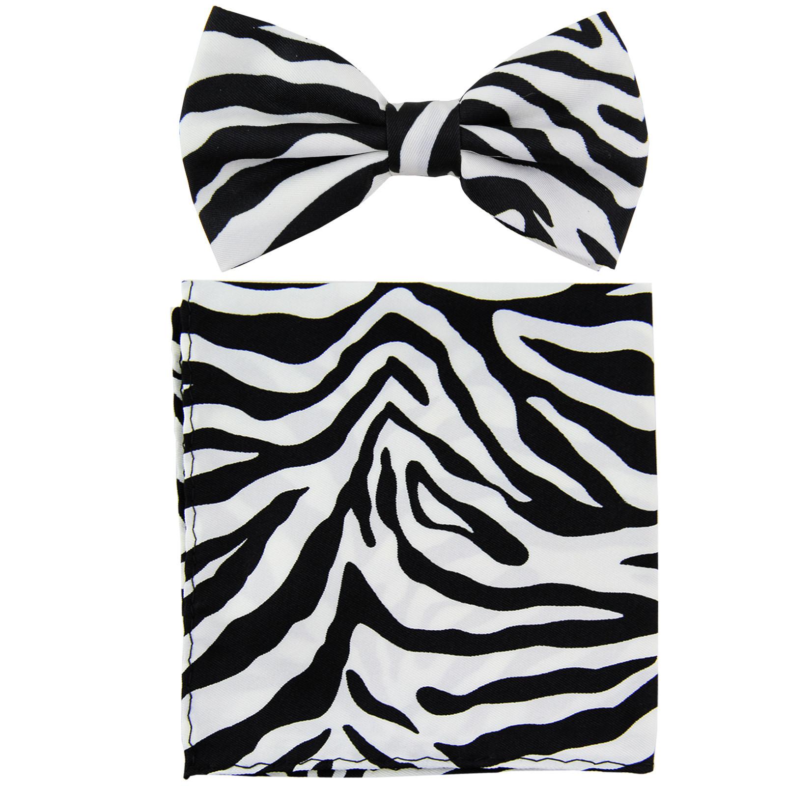 New Men's Pre-tied Bow Tie & Pocket Square Hankie set zebra  White