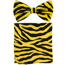 New Men's Pre-tied Bow Tie & Pocket Square Hankie set zebra  Yellow - $9.50