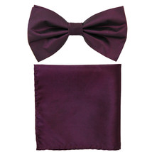 New formal men's pre tied Bow tie & Pocket Square Hankie chinz solid  Eg... - $8.75
