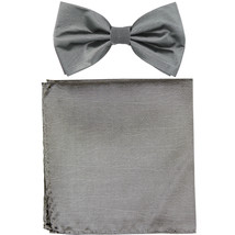 New formal men's pre tied Bow tie & Pocket Square Hankie chinz solid  Gray - $8.75