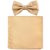 New formal men's pre tied Bow tie & Pocket Square Hankie solid prom  Beige - $7.50