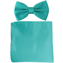 New formal men's pre tied Bow tie & Pocket Square Hankie solid prom  Aqu... - $7.50