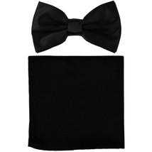 New formal men's pre tied Bow tie & Pocket Square Hankie solid prom  Black - $7.50