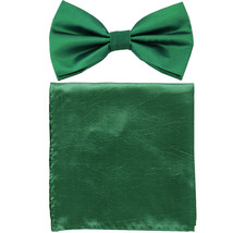 New formal men's pre tied Bow tie & Pocket Square Hankie chinz solid  Te... - $8.75