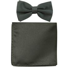 New formal men's pre tied Bow tie & Pocket Square Hankie solid prom  Dark Gray - $7.50