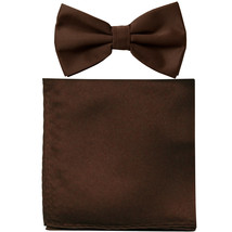 New formal men's pre tied Bow tie & Pocket Square Hankie solid prom  Brown - $7.50