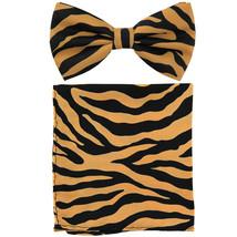 New Men's Pre-tied Bow Tie & Pocket Square Hankie set zebra  Tan - $9.50