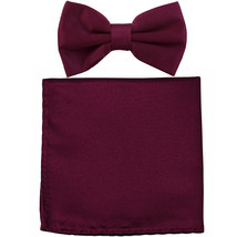 New formal men's pre tied Bow tie & Pocket Square Hankie solid prom  Egg... - $7.50