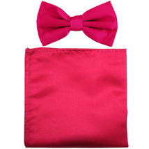 New formal men's pre tied Bow tie & Pocket Square Hankie solid prom  Hot... - $7.50
