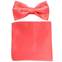 New formal men's pre tied Bow tie & Pocket Square Hankie solid prom  Coral - $7.50