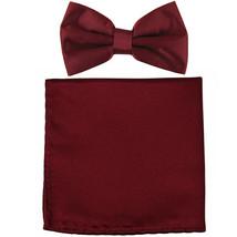 New formal men's pre tied Bow tie & Pocket Square Hankie solid prom  Burgundy - $7.50