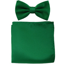 New men's pre tied Bow tie & Pocket Square Hankie solid prom  Emerald Green - $7.50