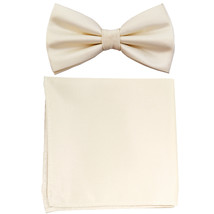 New formal men's pre tied Bow tie & Pocket Square Hankie solid prom  Ivory - $7.50