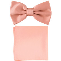 New formal men's pre tied Bow tie & Pocket Square Hankie solid prom  Mis... - $7.50