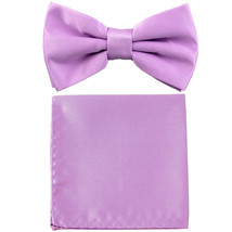 New formal men's pre tied Bow tie & Pocket Square Hankie solid prom  Lav... - $7.50
