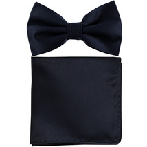New formal men's pre tied Bow tie & Pocket Square Hankie solid prom  Navy - $7.50