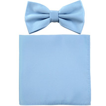 New formal men's pre tied Bow tie & Pocket Square Hankie solid prom  Lig... - $7.50