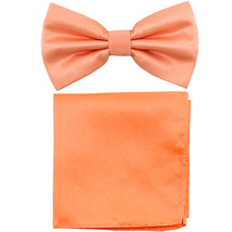 New formal men's pre tied Bow tie & Pocket Square Hankie solid prom  Peach - $7.50
