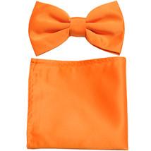 New formal men's pre tied Bow tie & Pocket Square Hankie solid prom  Orange - $7.50