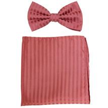 New formal men's pre tied Bow tie & Pocket Square Hankie stripes  Coral - $8.75