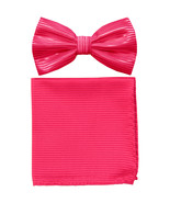 New formal men's pre tied Bow tie & Pocket Square Hankie stripes  Hot Pink - $7.50