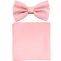 New formal men's pre tied Bow tie & Pocket Square Hankie solid prom  Pink - $7.50