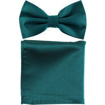 New men's pre tied Bow tie & Pocket Square Hankie solid prom  Sapphire Blue - €6,59 EUR