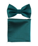 New men's pre tied Bow tie & Pocket Square Hankie solid prom  Sapphire Blue - £5.92 GBP