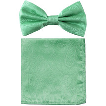 New formal men's pre tied Bow tie & hankie set paisley pattern  Aqua Green - $8.75
