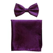 New formal men's pre tied Bow tie & hankie set paisley pattern  Dahila P... - $8.75