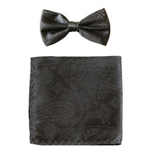 New formal men's pre tied Bow tie & hankie set paisley pattern  Dark Gray - $8.75