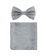 New formal men's pre tied Bow tie & hankie set paisley pattern wedding  ... - $8.75