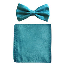 New formal men's pre tied Bow tie & hankie set paisley pattern  Turquoise - $8.75