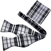 New Men's Polyester plaid checkers self-tied Bow Tie & hankie set black ... - $12.50