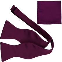 New Men's 100% Polyester Solid Formal Self-tied Bow Tie & hankie set  Eg... - $11.50