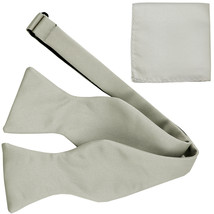 New Men's 100% Polyester Solid Formal Self-tied Bow Tie & hankie set  Si... - $11.50
