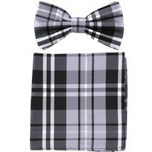 New men's pre tied Bow tie & Pocket Square Hankie plaid  Black Gray White - €7,89 EUR